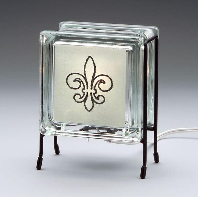 Fleur De Lis Glass Block Lamp