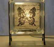 Butterfly glass block lamp
